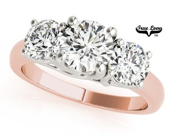 2.50 Carat total Weight 3 stone Moissanite Eng.  Ring 14kt Rose Gold, Trek Quality #1,  Three Stone Engagement, Past Present Future #7567