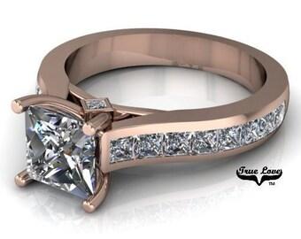 1.20 Carat Princess Cut Trek Quality #1Moissanite D-E Color VVS Clarity Side Moissanites. Brand:True Love Eng. Ring 14kt Rose Gold  #6925
