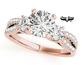 Moissanite Trek Quality #1 Three Stone Ring, Trinity, Past Present Future Brand True loveEngagement Ring 14kt Rose Gold,  Split Shank #7489