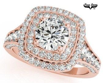 Moissanite Engagement Ring 14kt Rose Gold, Trek Quality #1, Wedding Ring, Side Moissanites, Double Square Halo  #7183