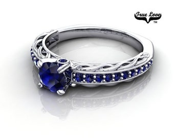 14 kt. White Gold True Love Round .60 Carat AA Quality Blue Sapphire with Side and accent Blue Sapphires  Engagement Ring. #6723