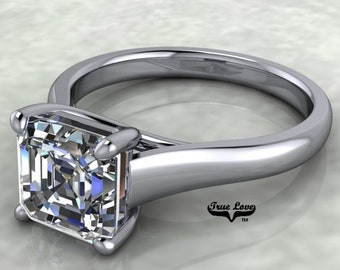 Moissanite Engagement Ring  Asscher Cut  Trek Quality #1 from .80 to 1.75 Carat  Asscher Cut ,Platinum  #6891P