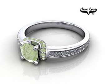 14 kt. White Gold  Round .50 Carat Brilliant Cut Apple Green Diamond,   Exquisite Engagement Ring. #6745
