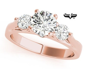 Moissanite Engagement Ring 14kt Rose Gold, Trek Quality #1, Wedding Ring, Three Stone Ring, Trinity, Past Present Future #7498