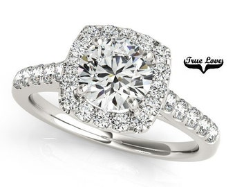 Halo Trek Quality #1 D-E Color  VVS Clarity Moissanite Engagement Ring 14kt White Gold,   Wedding Ring, Halo Engagement  #7275