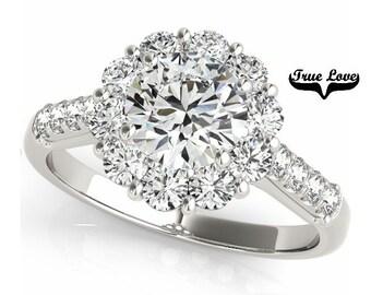 Moissanite  Trek Quality #1 Halo Engagement Ring 14kt White Gold, Wedding Ring, Round Halo, Side moissanites #7223