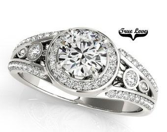 Moissanite Engagement Ring 14kt White Gold, Trek Quality #1, Wedding Ring, Bezel Setting, Side Accent Moissanites  #7309