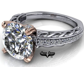Moissanite 1.5 , 2 or 3 Carat D-E Colorless or G-H near colorless Trek Quality #1 Engagement Ring 14 kt white & Rose Gold. #6719