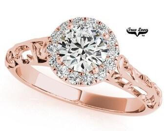 Moissanite Engagement Ring 10kt Rose Gold, Forever One, Wedding Ring, Halo, Decorative #6872