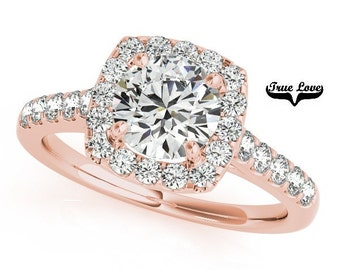 14k Rose Gold Trek Quality #1 VVS Clarity D-E Color  Moissanite Engagement Ring, Wedding Ring, Halo Engagement  #7277