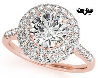 Moissanite Engagement Ring 10kt Rose Gold, Trek Quality #1, Wedding Ring, Side Moissanites, Double Halo #7207