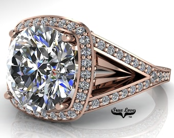 Moissanite Trek Quality #1 Engagement Ring D-E Color VVS Clarity, 14 kt Rose Gold, Split Shank  #6970