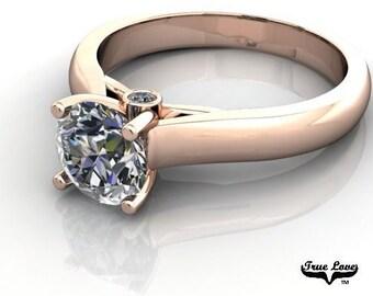 Moissanite Engagement Ring 14kt Rose Gold, Trek Quality #1, Wedding Ring, Solitaire #6921