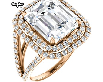 Emerald Cut Moissanite Engagement Ring 14 kt Rose gold #6981