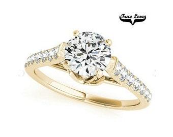 1 Carat Moissanite Engagement Ring 14 kt Yellow Gold,Trek Quality #1. VVS Clarity D-E-Fand GH color, Wedding Ring, Side Moissanites #7343