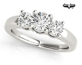 Moissanite Engagement Ring 14kt White Gold, Trek Quality #1, Wedding Ring, Trinity, Three Stone Ring, Past Present Future #7556