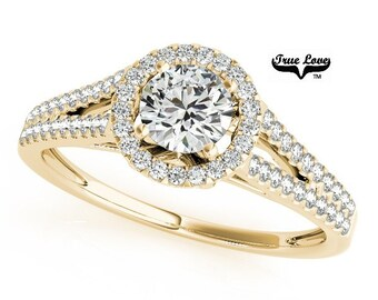 Moissanite Engagement Ring 14kt Yellow Gold, Trek Quality #1 D-E Color , 1 carat center, Wedding Ring, Halo Engagement, Split Shank   #7252