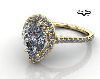 2.20 Carat Moissanite Pear Shape Trek Quality #1  D-E-F or GH Color VVS Clarity with Halo & Accented  Moissanites 14 kt.Yellow Gold #7088