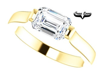 Moissanite Engagement Ring 14kt Yellow Gold #7784