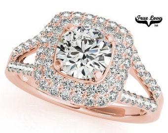 2 Carat Moissanite Engagement Ring 14kt Rose Gold, Trek Quality #1, Wedding Ring, Side Moissanites, Double Square Halo,  Split Shank #7168