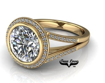 Moissanite Engagement Ring 14kt Yellow Gold, Wedding Ring, Bezel Setting,  Split Shank, Halo, Side Moissanites #6895