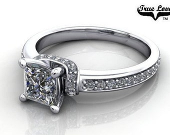 Princess Cut Moissanite Engagement Ring 14 kt White Gold – True Love, Trek Quality #1, Wedding Ring, Side Moissanites #6752
