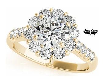 Moissanite  Trek Quality #1 Halo Engagement Ring 14kt Yellow Gold, Wedding Ring, Round Halo, Side Moissanites  #7224