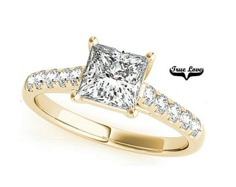 Moissanite Engagement Ring 14kt Yellow Gold, Trek Quality #1, Wedding Ring, Princess Cut, Square Cut #7786