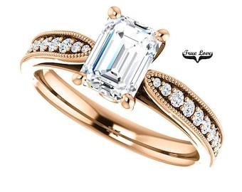 Moissanite Engagement Ring 14kt Rose Gold, Trek Quality #1, Wedding Ring, Side Moissanites, Radian Cut #7803