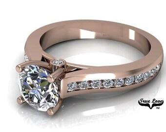 Moissanite Engagement Ring 14kt Rose Gold, Trek Quality #1, Wedding Ring, Side Moissanites #6926