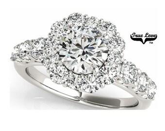 Moissanite Engagement Ring 14kt White Gold, Trek #1Quality D-E Color  Moissanites Wedding Ring, Halo Engagement with Side Moissanites #7229