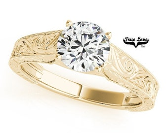 Moissanite Engagement Ring14 kt.Yellow Gold  Center 6.65 mm 1.03 Carat Round Forever One Moissanite Solitaire    #7479