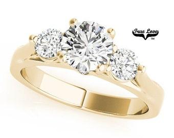 Moissanite Engagement Ring 14kt Yellow Gold,Trek Quality #1, Wedding Ring, Three Stone Ring, Trinity, Past Present Future #7497