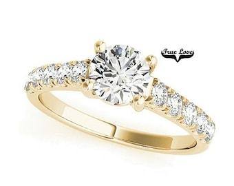 1.50 Carat Moissanite Trek Quality #1 Engagement Ring 14kt Yellow Gold, Wedding Ring, Side moissanites, Round Cut #7340