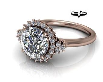 Moissanite Engagement Ring 14kt Rose Gold, Trek Quality #1, Wedding Ring, Halo, Side Moissanites #7874