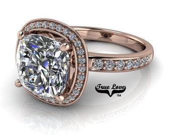 Moissanite Engagement Ring ,1.25,1.75,2.5 or 4 Carat Trek Quality #1 D-E Colorless, or GH Near Colorless VVS Clarity 14kt Rose Gold #7039