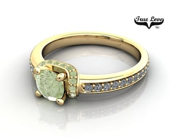 14 kt. Yellow Gold  Round .50 Carat Brilliant Cut Apple Green Diamond,  Exquisite Engagement Ring. #6744