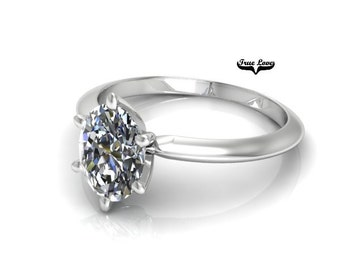 Oval 1.5 carat 6x8 mm Charles & Colvard Moissanite Engagement Ring 14kt White Gold, Forever Classic, Wedding Ring, Oval Solitaire #7877