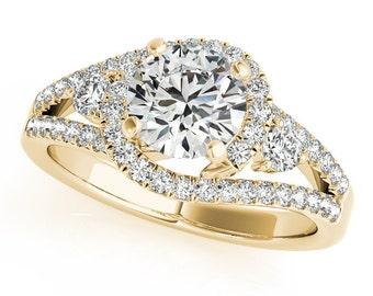 Moissanite Engagement Ring 14kt Yellow Gold, Wedding Ring, Halo Engagement, Side Moissanites #7491