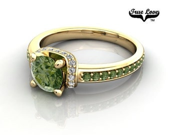 14 kt. Yellow Gold  Round .80 Carat Brilliant Cut Forrest Green Diamond,  Exquisite Engagement Ring. #6748
