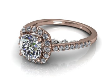 Moissanite Engagement Ring 14kt White & Rose Gold #7912