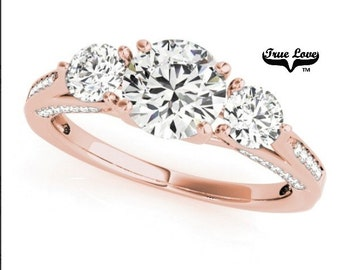 Moissanite 3 Stone Engagement Ring14 kt.Rose Gold,One Carat Center Trek Quality #1 Past Present Future Wedding Ring,Side stones #7323