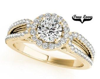 Moissanite Engagement Ring 14kt Yellow Gold,Trek Quality #1 D-E F Color VVS Clarity 6 mm Brilliant Cut, Wedding Ring,, Split Shank  #7267