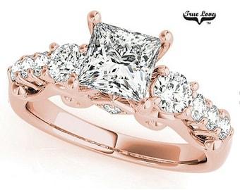 Princess Cut Moissanite Engagement Ring 14 kt Rose Gold. #7332