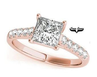 2 Carat 7mm Princess Cut Trek Quality #1 Moissanite  Side Round Moissanites Brand True love Engagement Ring 14kt Rose Gold #7347