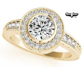 Moissanite  Forever Classic One Carat Center Engagement Ring 14kt Yellow Gold, Bezel Setting, Side Moissanites  #6880
