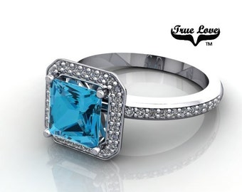 14 kt. White Gold Diamond Accented and Sidestones Princess Halo Swiss blue Topaz Engagement Ring. #7138