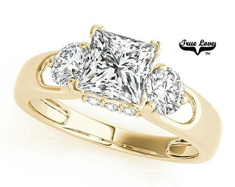2.30 Carat 7.50mm Princess Cut Trek Quality #1 Moissanite.  Brand: True Love Engagement Ring 14kt Yellow Gold, Past Present Future #7482