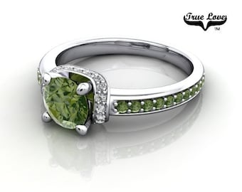 14 kt. White Gold  Round .80 Carat Brilliant Cut Forrest Green Diamond,  Exquisite Engagement Ring. #6747
