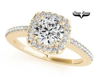 Moissanite Engagement Ring 14kt Yellow Gold #7288